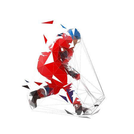 Ice hockey player in red jersey shooting puck, geometric polygonal drawing. Isolated vector illustration. Ice hockey athlete Ilustracja