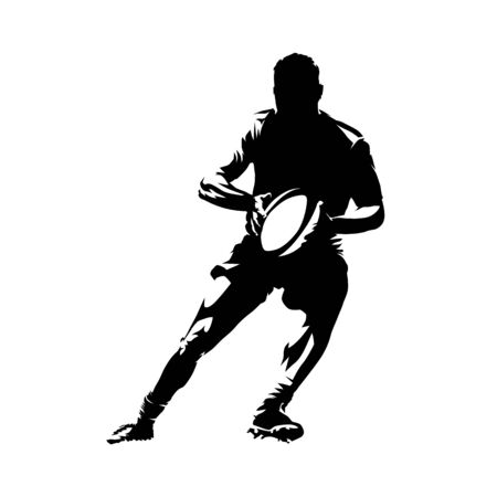 Rugby player running and holding ball in hands, abstract isolated vector silhouette. Comic style, ink drawing