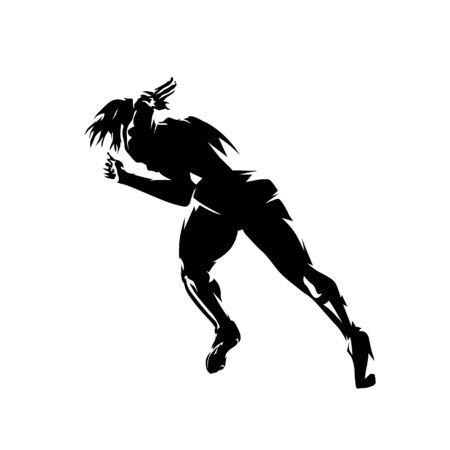 Sprinting woman, abstract runner silhouette, isolated vector drawing. Rear view
