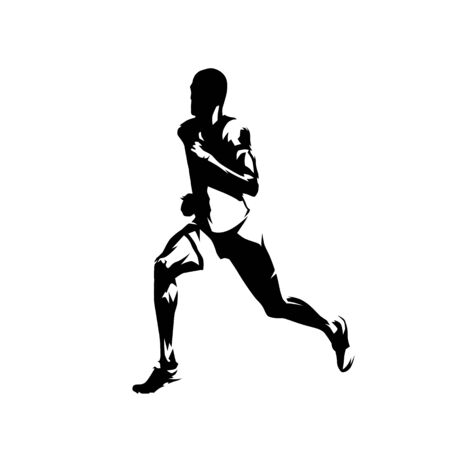 Runner, side view isolated vector ink drawing, abstract silhouette of running man