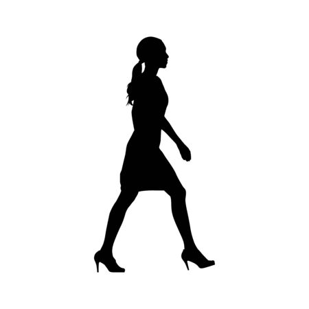 Woman walking, side view. Isolated vector silhouette. Young businesswoman in formal clothing Ilustracja