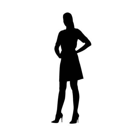 Woman in summer dress standing with hands on hips, isolated vector silhouette, front view. Young adult people Ilustracja