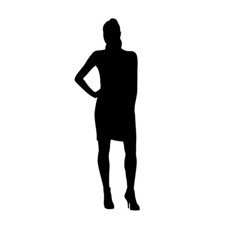 Businesswoman standing with hand on hip, isolated vector silhouette. Front view Ilustracja