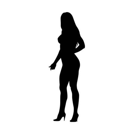 Fitness woman standing and posing, healthy lifestyle, active people, isolated vector silhouette Ilustracja