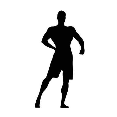 Fitness man standing and posing, healthy lifestyle, active people, isolated vector silhouette 写真素材 - 129620049