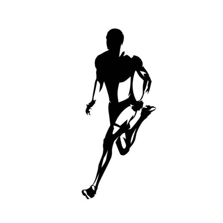 Running man, isolated vector silhouette. Ink drawing. Run