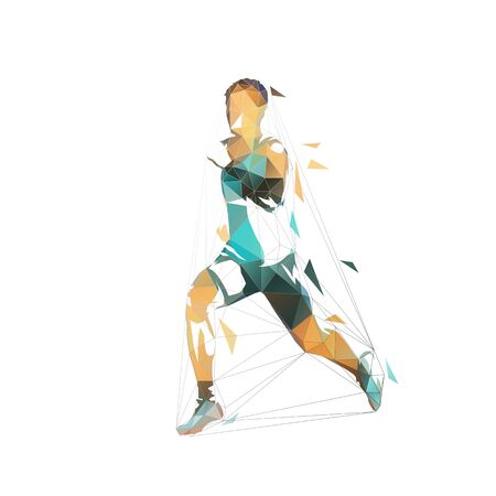 Running man, low polygonal vector illustration. Abstract geometric runner, side view Ilustracja