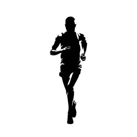 Marathon runner, isolated vector silhouette, front view. Running athlete