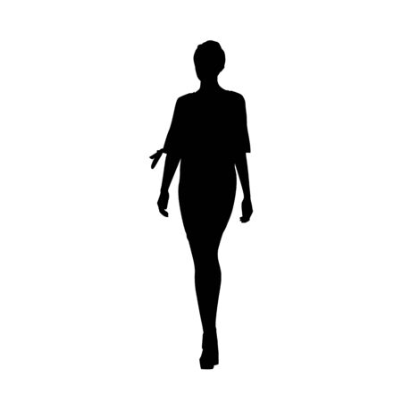 Woman standing, isolated vector silhouette. Slim body, high heels, short hair, long legs. Young adult lady