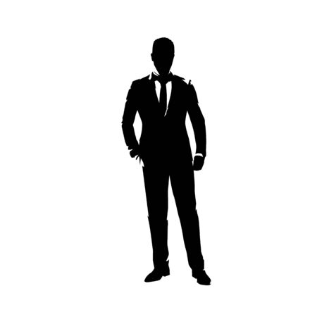 Businessman in suit standing with hand in pocket, abstract ink drawing vector silhouette. Man in suit