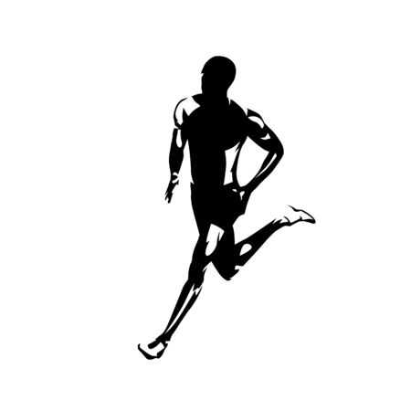 Running man, isolated vector silhouette. Ink drawing. Run Banque d'images - 130364698