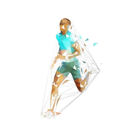 Running man, low polygonal vector illustration. Abstract geometric runner, side view  イラスト・ベクター素材