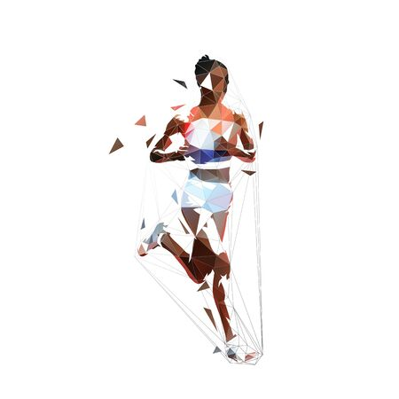 Running woman, abstract low polygonal isolated vector illustration. Geometric african american runner, side view Banque d'images - 130364714