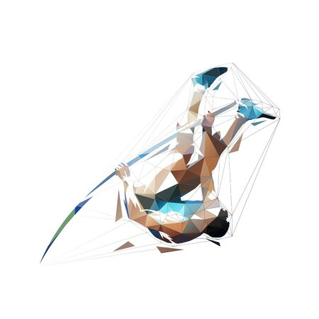 Pole vault, abstract low polygonal isolated vector illustration, geometric jumping athlete 일러스트