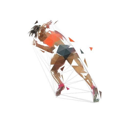 Sprinting woman, abstract low poly running woman illustration, isolated geometric vector drawing. Rear view Stock Illustratie