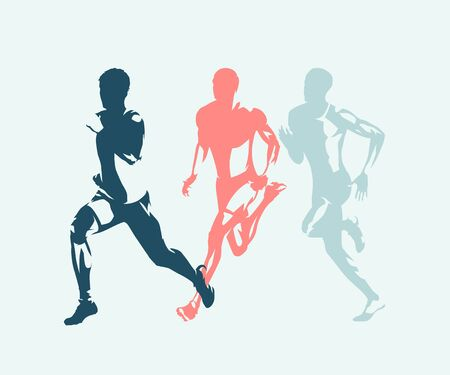 Runner, side view isolated vector ink drawing, abstract silhouette of running man Banque d'images - 130364752