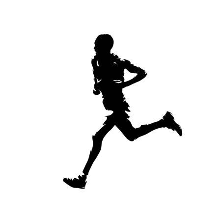 Running man, marathon runner isolated vector silhouette, side view