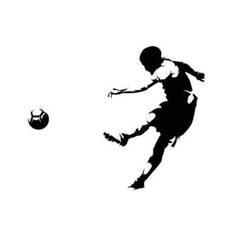 Soccer player kicking ball and scoring goal, abstract ink drawing vector silhouette. Isolated footballer, side view, comic style 向量圖像