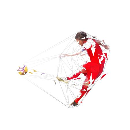 Soccer player kicking ball and scoring goal, abstract geometric low poly illustration, isolated vector footballer in red jersey 向量圖像
