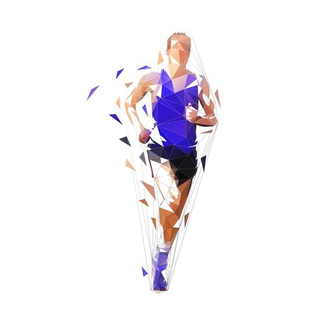 Runner, front view isolated polygonal vector illustration, abstract geometric drawing of marathon runner in purple shirt Banque d'images - 130594239
