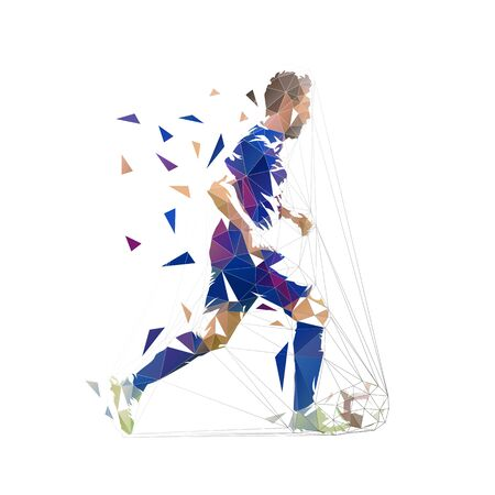 Football player in dark blue jersey running with ball, abstract low poly vector drawing. Soccer player kicking ball. Isolated geometric colorful illustration, side view 向量圖像