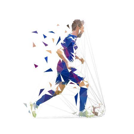 Fußballspieler in dunkelblauem Trikot mit Ball, abstrakte Low-Poly-Vektorzeichnung. Fußballspieler, der Ball tritt. Isolierte geometrische bunte Illustration, Seitenansicht Vektorgrafik
