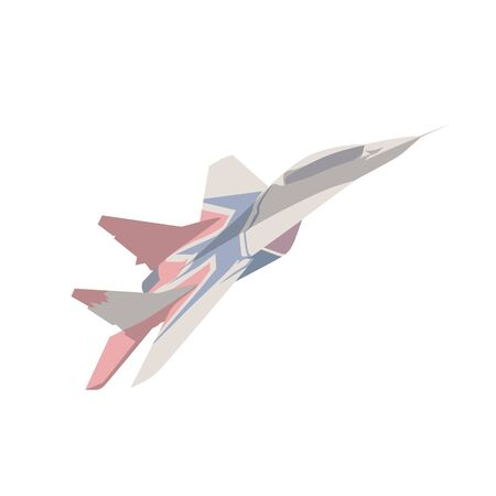 Fighter plane flying, flat design isolated vector illustration Banco de Imagens - 130594243