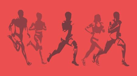 Runners, group of running men and woman. Set of isolated vector silhouettes. Ink drawing Banque d'images - 130594244