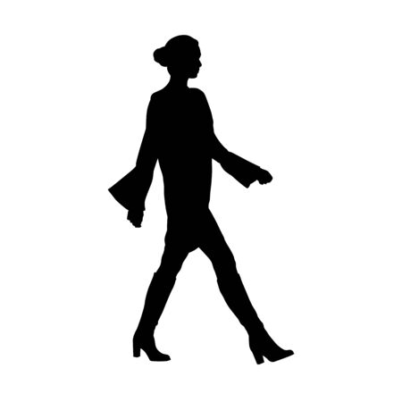 Woman walking, side view. Isolated vector silhouette. Young businesswoman in formal clothing 矢量图像