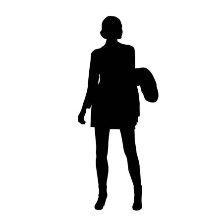 Woman standing and holding jacket. Isolated vector silhouette. Young businesswoman in formal clothing Ilustração