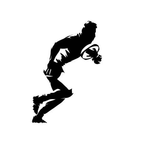Giocatore di rugby che corre e tiene la palla in mano, siluetta astratta di vettore isolato. Stile fumetto, disegno a inchiostro