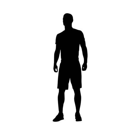 Man standing, isolated vector silhouette. Male athlete in shorts and shirt Çizim