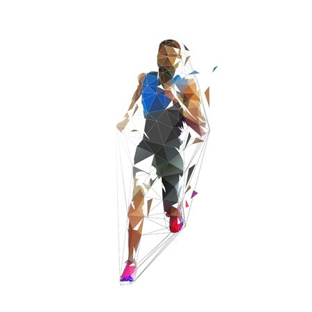 Running man, low poly vector illustration. Abstract geometric runner, front view 스톡 콘텐츠 - 131387209