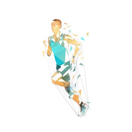 Running man, low polygonal vector illustration. Abstract geometric runner, side view 스톡 콘텐츠 - 131387214