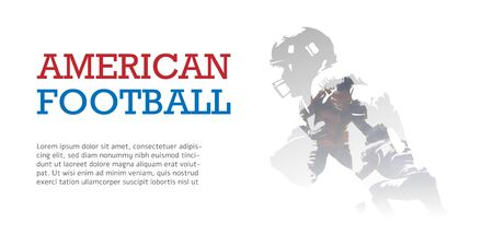 American football flyer, double exposure vector illustration. Group of football players Illustration