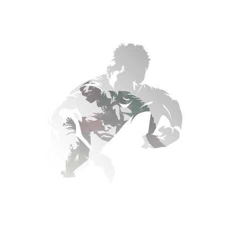 Rugby players, isolated double exposure vector illustration. Group of rugby players, multiexposure 向量圖像
