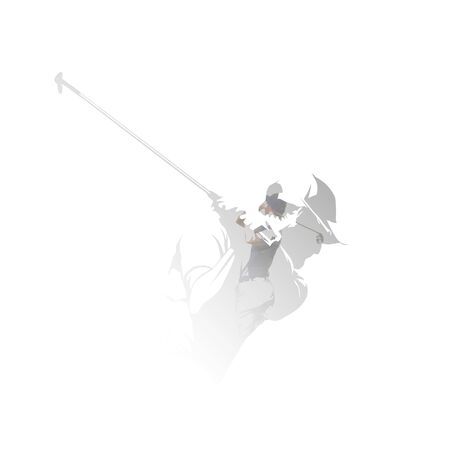 Golf players, isolated double exposure vector illustration. Group of golfers, multiexposure