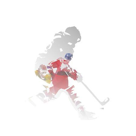 Ice hockey players, isolated double exposure vector illustration. Group of hockey players, multiexposure Illusztráció