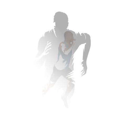 Run, sprinting men, isolated double exposure vector illustration. Group of runners, multiexposure 向量圖像
