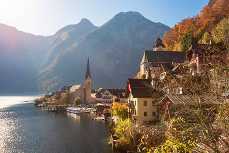 Hallstatt, historic town with Hallstatter see. Autumn in Alps, Austria