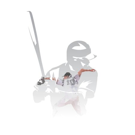 Baseball players, pitcher throwing ball, batter waiting, isolated multi exposure vector illustration