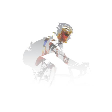 Cycling, road cyclists multi exposure vector illustration