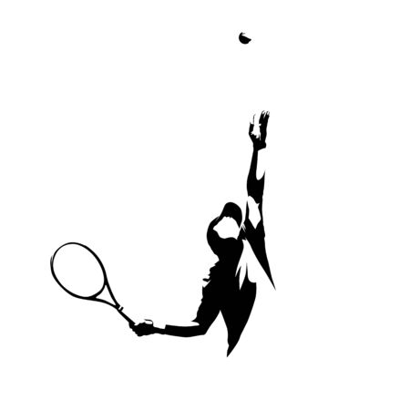 Tennis Player Serving Ball, Isolated Vector Silhouette