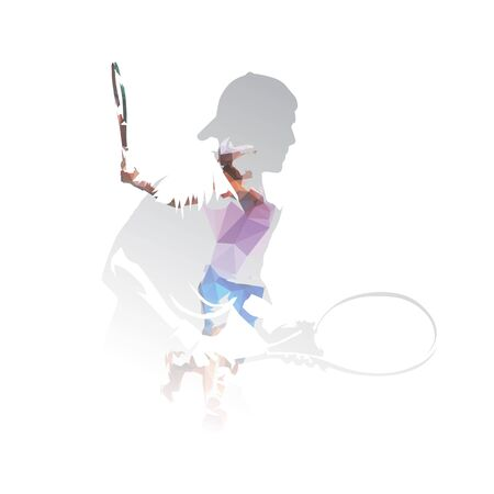 Tennis players, double exposure isolated vector illustration