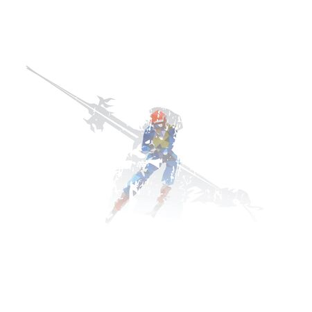 Skiing, downhill skiers, double exposure isolated vector illustration