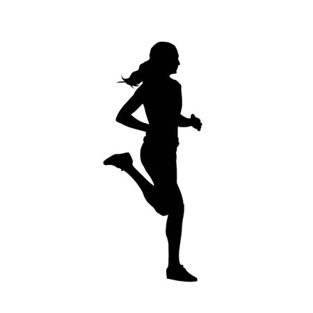 Running tennager girl, isolated vector silhouette