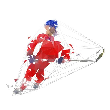 Ice hockey player in red jersey shooting puck, geometric polygonal drawing. Isolated vector illustration. Ice hockey athlete Illustration