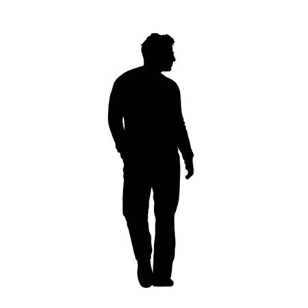 Young man standing, isolated vector silhouette Vectores
