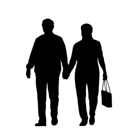 Couple of two seniors walking and holding hands, isolated tector silhouette