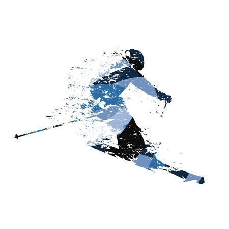 Abfahrtsskifahrer, abstrakte blaue Vektorillustration Vektorgrafik